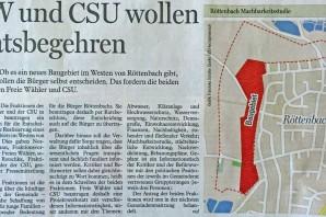 Freie Wähler und CSU Röttenbach beantragen Ratsbegehren zur Entscheidung über ein neues Baugebiet